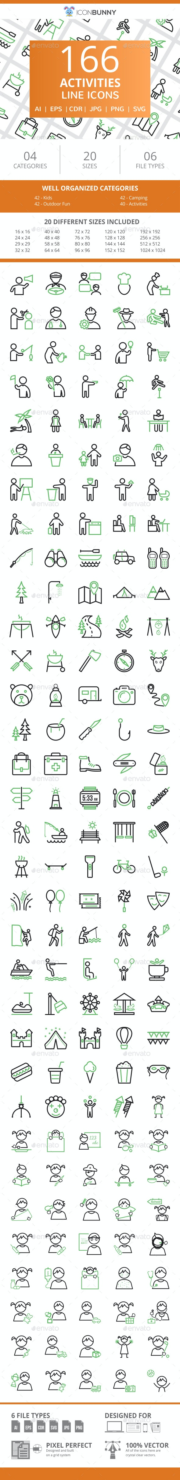 166 Activities Line Green & Black Icons - Icons
