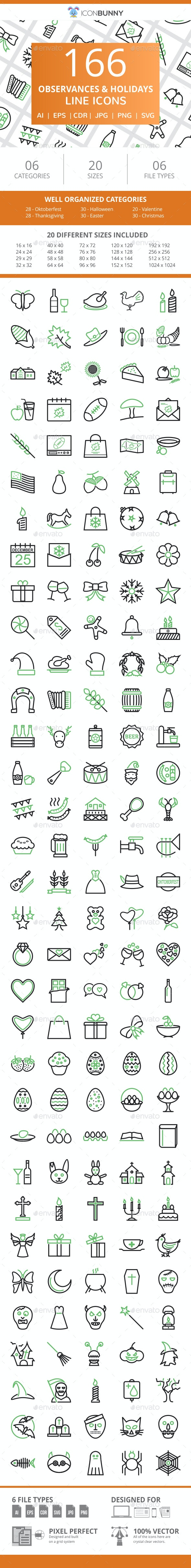 166 Observances & Holiday Line Green & Black Icons - Icons