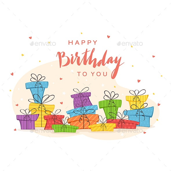 Colorful Presents and Lettering Happy Birthday - Birthdays Seasons/Holidays