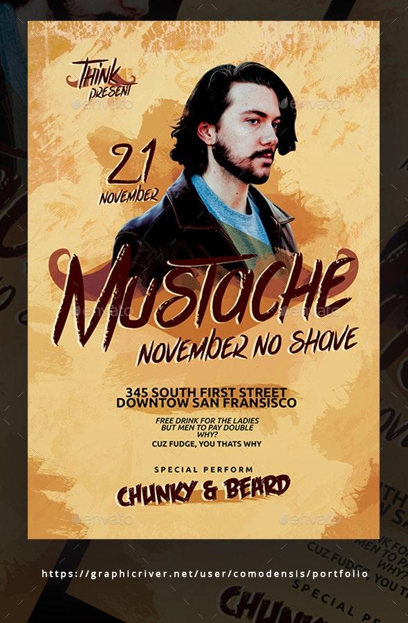 Moustache Party Flyer Templates - Clubs & Parties Events