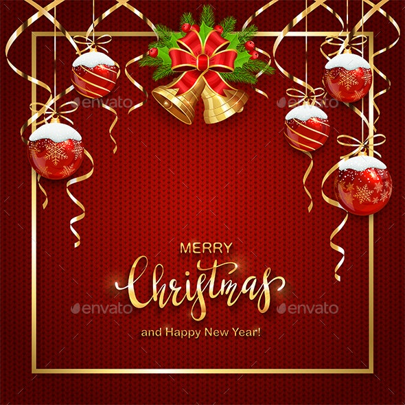 Red Knitted Background with Christmas Balls - Christmas Seasons/Holidays