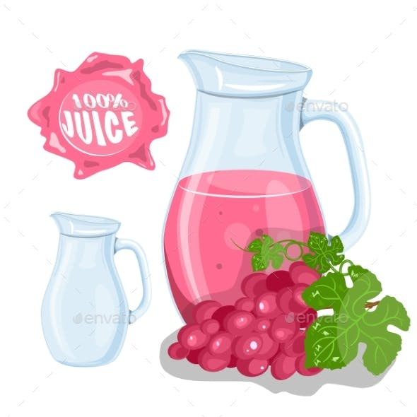 Vector Set of Natural Fresh Grapes
