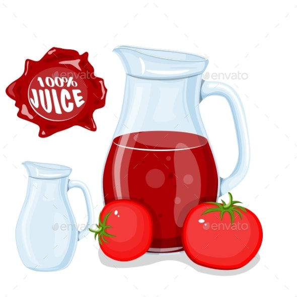 Plastic Bottle with Red Tomato Juice - Food Objects