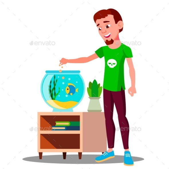 Teenager Feeding A Fish In Aquarium Vector - People Characters