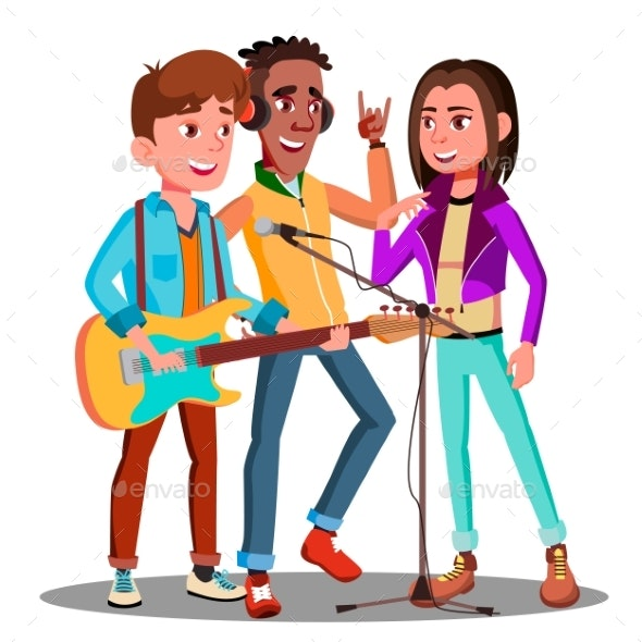 Teen Rock Band Playing Music On Guitar Vector - People Characters