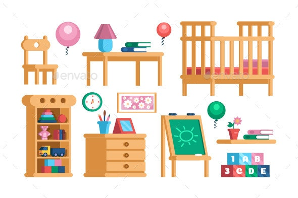 Set Childrens Room Interior Furniture Collection - Man-made Objects Objects