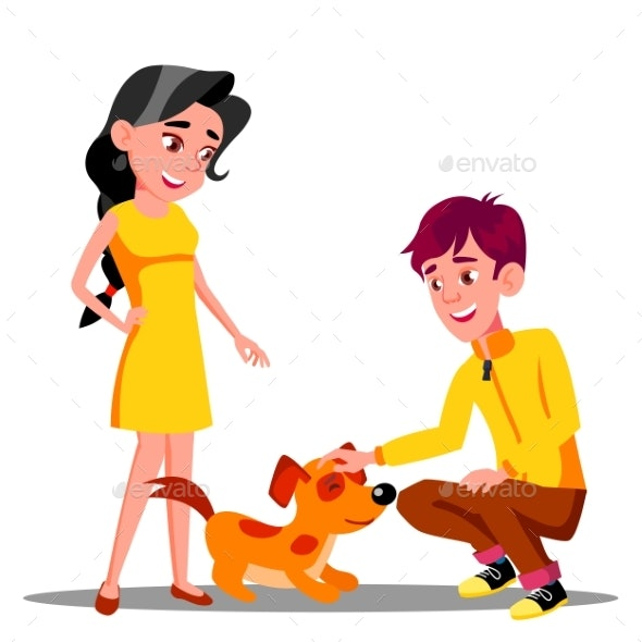 Teenager Petting The Dog In Park Vector. Isolated - People Characters