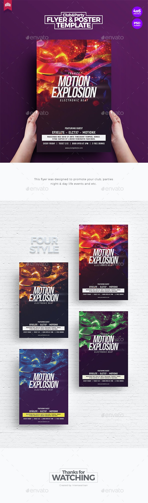 Motion Explosion - Flyer Template - Clubs & Parties Events
