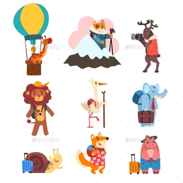 Animals Cartoon Characters Traveling - Animals Characters