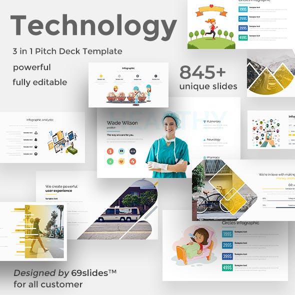 3 in 1 Technology Pitch Deck Bundle Google Slide Template