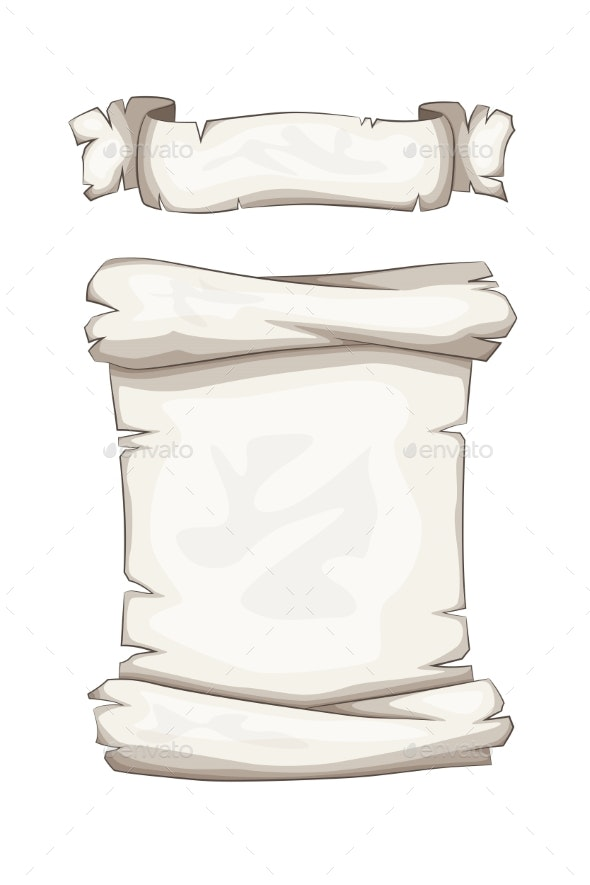 Cartoon Banner and Scroll - Backgrounds Decorative