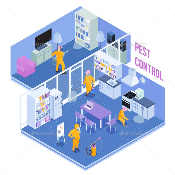 Pest Control Service Isometric Illustration - Miscellaneous Vectors