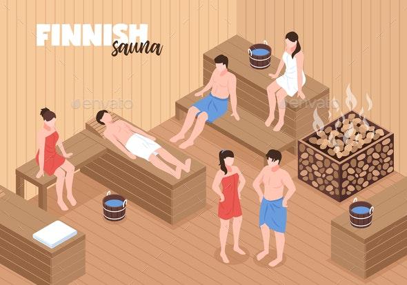 Finnish Sauna Isometric Illustration - People Characters
