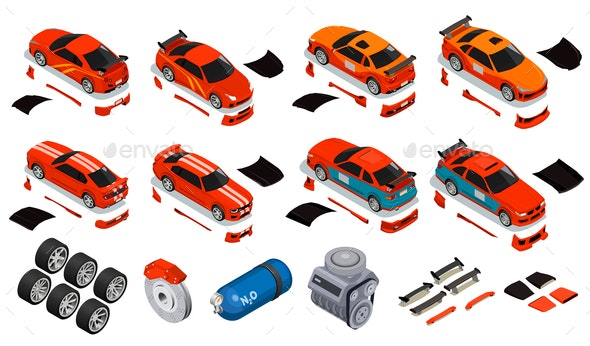 Car Tuning Isometric Icons Set - Miscellaneous Vectors