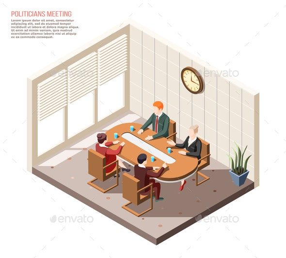 Politicians Meeting Isometric Composition - People Characters