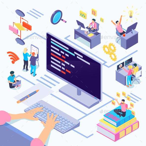 Software Developers Isometric Illustration