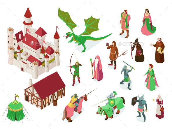 Medieval Fairy Tale Isometric Set - Miscellaneous Characters