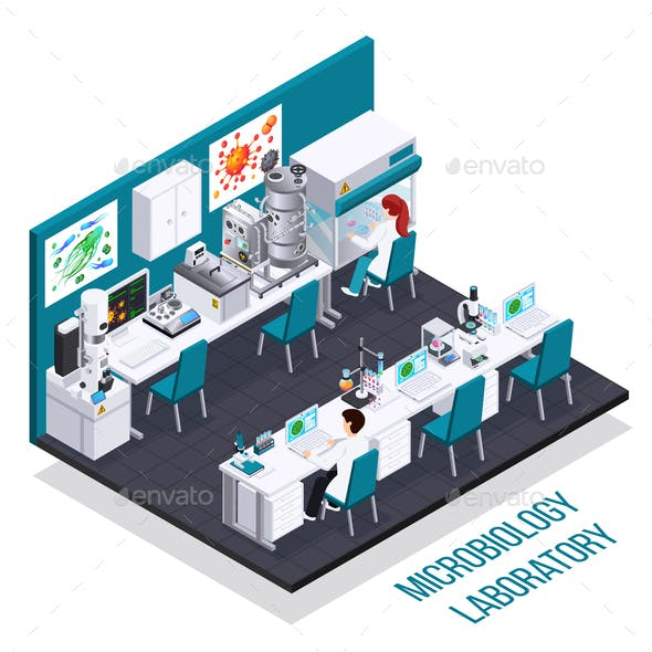 Microbiology Laboratory Isometric Composition