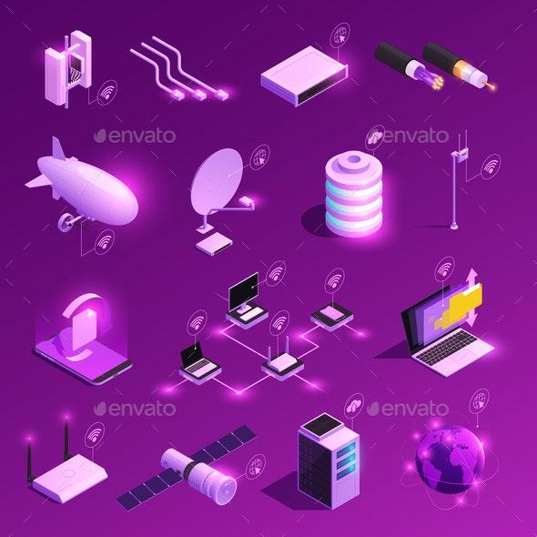 Global Network Isometric Icons - Backgrounds Decorative