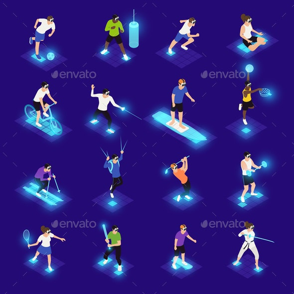 VR Sports Isometric Icons - Sports/Activity Conceptual