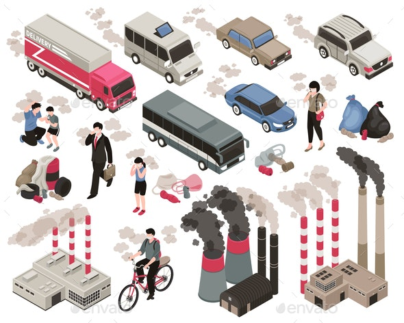 Air Pollution Isometric Set - Industries Business