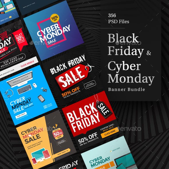 Black Friday Sale and Cyber Monday Sale Ad Banner Designs- 356 Banners - Updated!