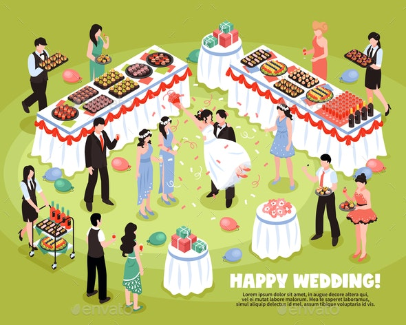 Isometric Wedding Party Background - Food Objects