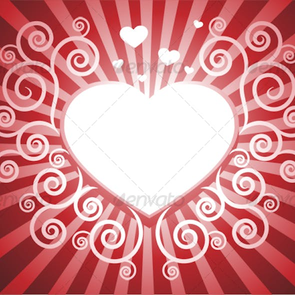 Heart with swirl red background