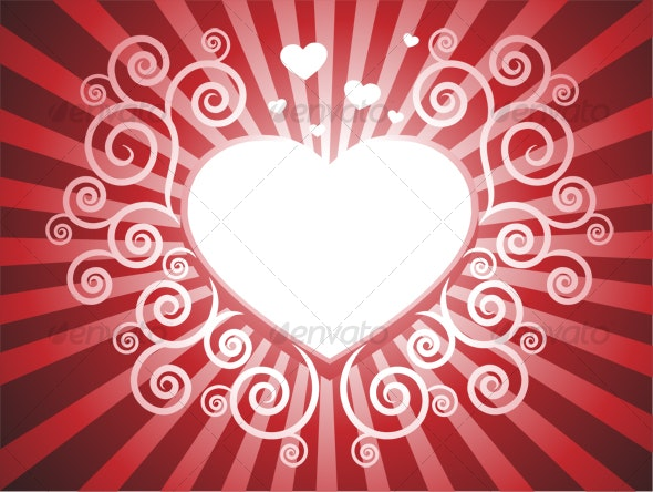 Heart with swirl red background - Abstract Backgrounds