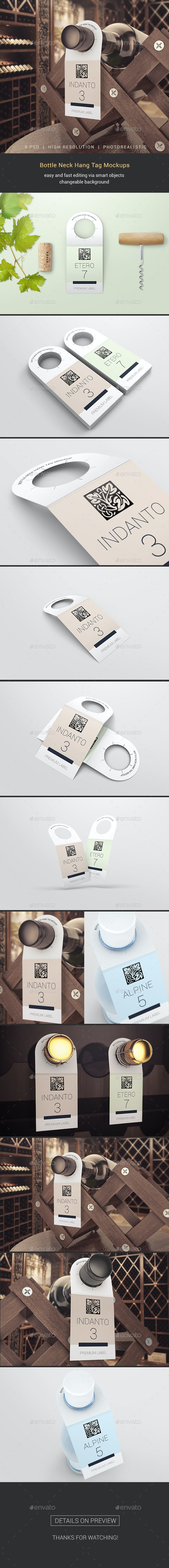 Bottle Neck Hang Tag Mockups - Miscellaneous Print