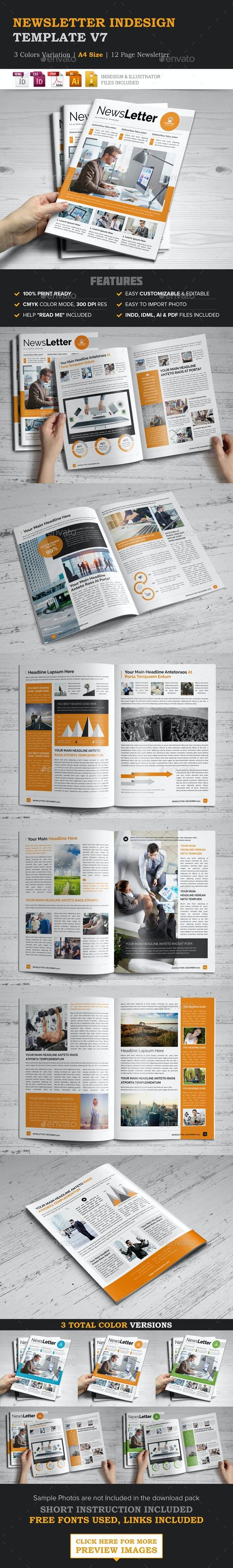Newsletter Indesign Template v7 - Newsletters Print Templates