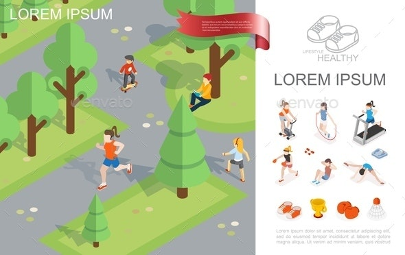 Isometric Healthy Lifestyle Template - People Characters