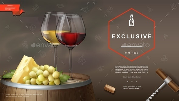 Realistic Winemaking Background - Food Objects