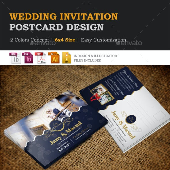 Wedding Invitation Postcard Design Template