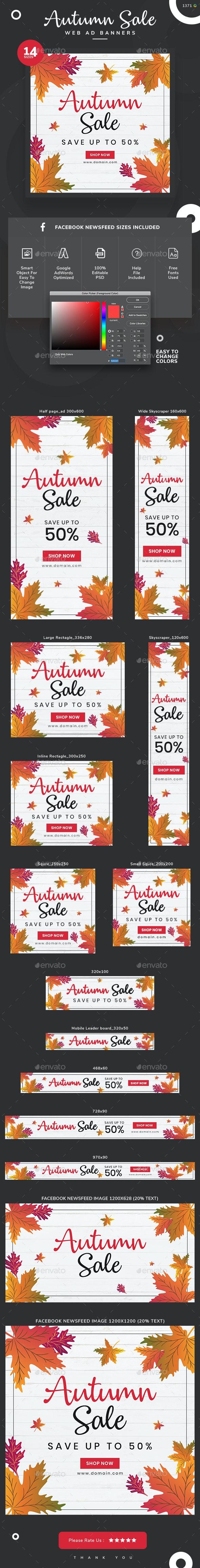 Autumn Sale Banner Set - Banners & Ads Web Elements