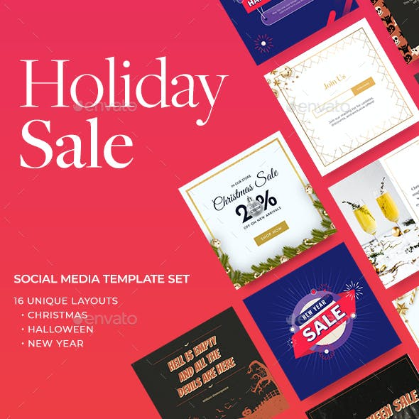 Holiday Sale Banners for Christmas, Halloween & New Year. Flexible Facebook Instagram & Pinterest Ad
