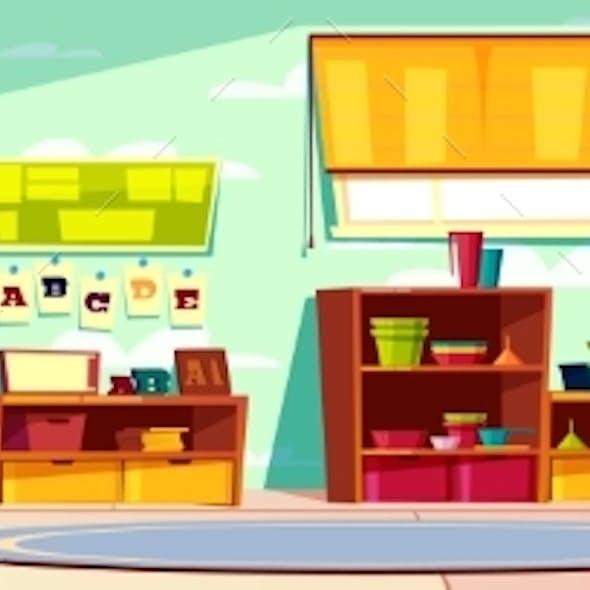 Modern Kindergarten Empty Interior Cartoon Vector