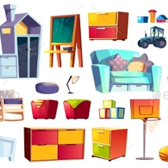 Set of Kids Furniture and Toys