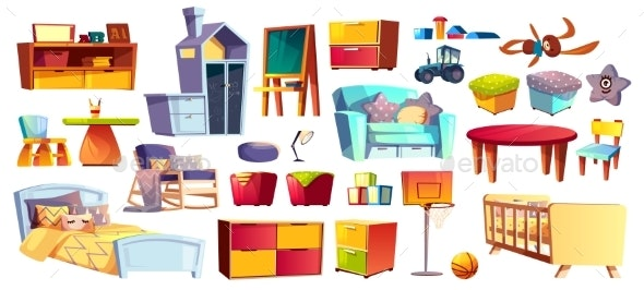 Set of Kids Furniture and Toys - Man-made Objects Objects