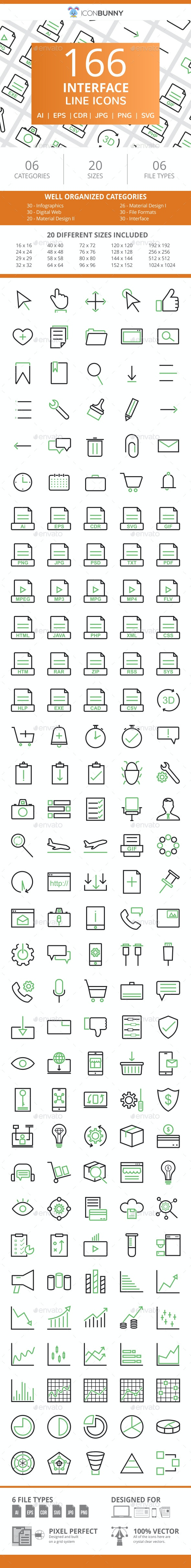 166 Interface Line Green & Black Icons - Icons