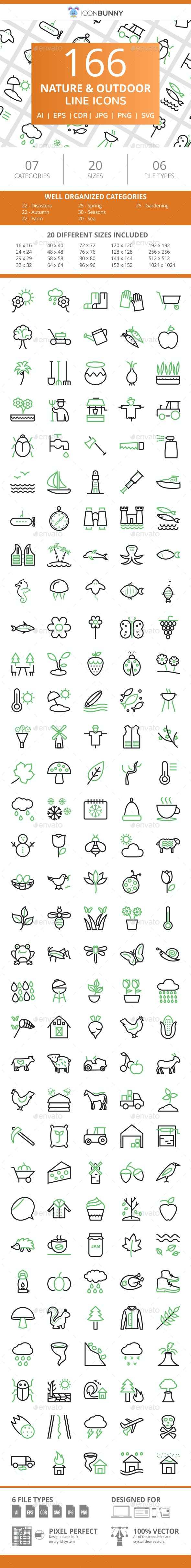 166 Nature & Outdoor Line Green & Black Icons - Icons