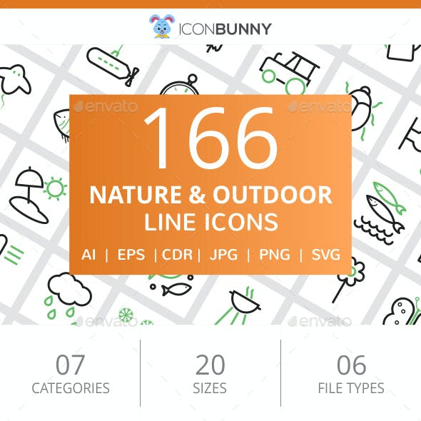 166 Nature & Outdoor Line Green & Black Icons