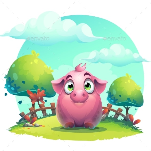 Vector Cartoon Pig on a Lawn Background - Animals Characters