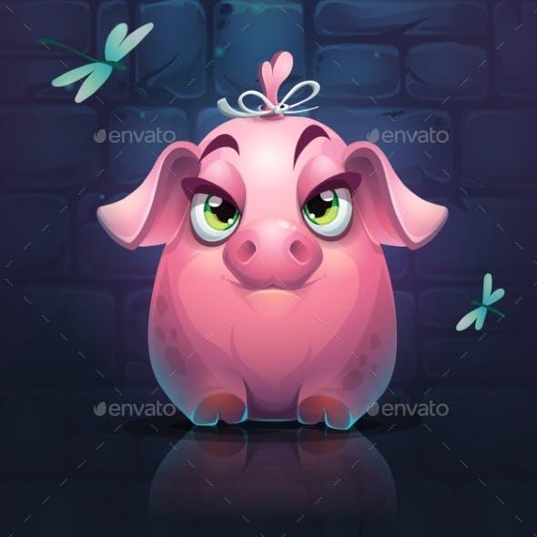Vector Cartoon Piggy Girl
