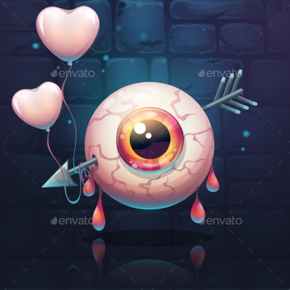 Pierced Eye with Heart on the Brick Wall - Miscellaneous Vectors
