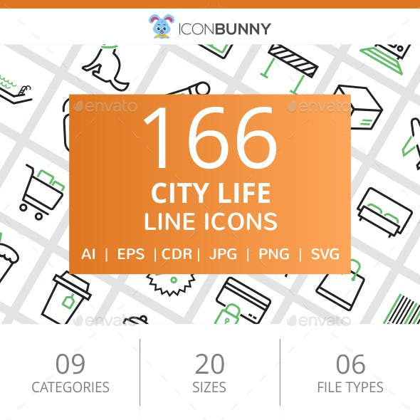 166 City Life Line Green & Black Icons