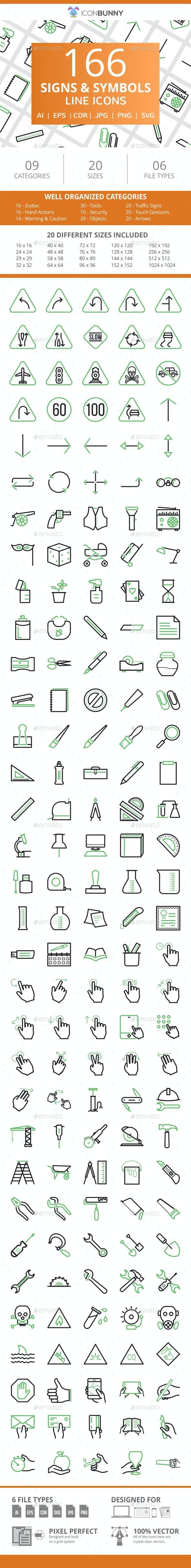166 Signs & Symbols Line Green & Black Icons - Icons