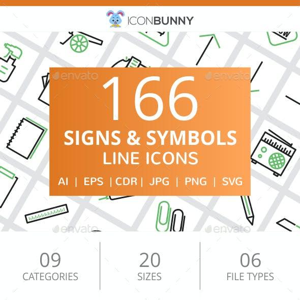 166 Signs & Symbols Line Green & Black Icons