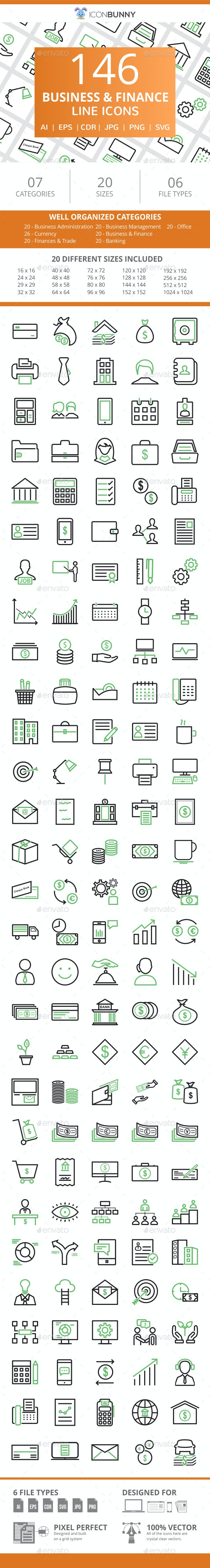 146 Business & Finance Line Green & Black Icons - Icons
