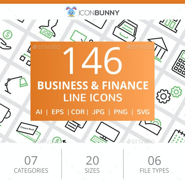 146 Business & Finance Line Green & Black Icons